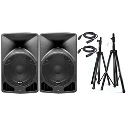 "Alto TX15 15"" Truesonic 1200W Powered PA Speaker Pack w/ Stands & Cables"