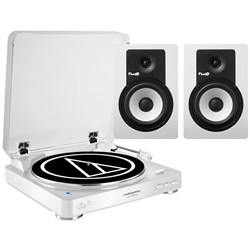 Audio Technica LP60BT & Fluid C5BT Bluetooth Turntable & Speaker Package (White)
