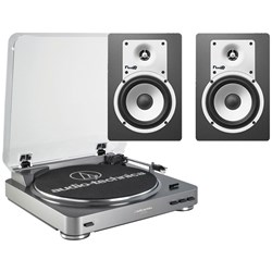 Audio Technica LP60 & Fluid C5 Turntable & Speaker Pack (Grey & Black)