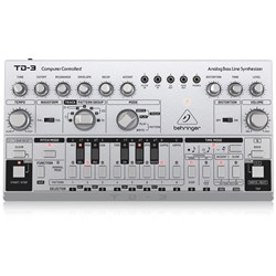 Behringer TD3 Analog Bass Line Synth w/ VCO, VCF, 16-Step Sequencer (Silver)