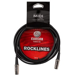 Carson Rocklines MIDI Cable w/ Chrome Connections (10ft)