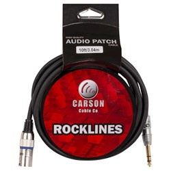 Carson Rockline 6.3mm TRS to XLR(M) Balanced Audio Cable (10ft)