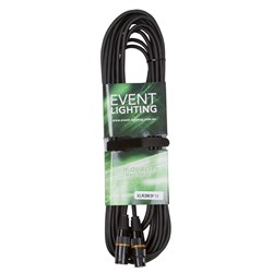 Event Lighting XLR3M3F10 3-Pin DMX Lead - Orange Indicator Ring (10m)