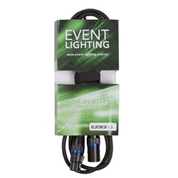 Event Lighting XLR3M3F1.5 3-Pin DMX Lead - Blue Indicator Ring (1.5m)