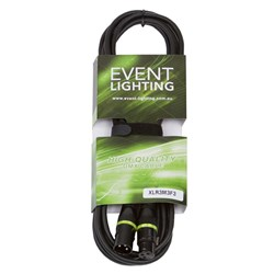 Event Lighting XLR3M3F3 3-Pin DMX Lead - Yellow Indicator Ring (3m)