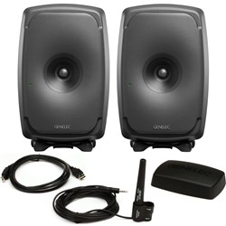 "Genelec 8351A SAM 8"" 3-Way Powered Studio Monitors Black (Pair) w/ Free GLM Kit"