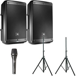 "JBL EON610 10"" Two-Way Powered Speaker Pack w/ Stands & AKG P5S Dynamic Mic"