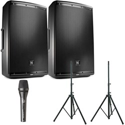 "JBL EON612 12"" Two-Way Powered Speaker w/ Stands & AKG P5S Dynamic Mic"