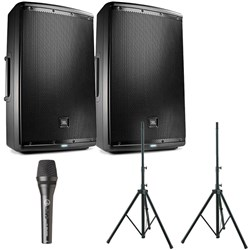 "JBL EON615 15"" Two-Way Powered Speaker Stands & AKG P5S Dynamic Mic"