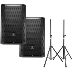 "JBL PRX812W 12"" Two-Way Full-Range PA Speakers (Pair) w/ Speaker Stands"