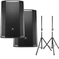 "JBL PRX815W 15"" Two-Way Full-Range PA Speakers (Pair) w/ Speaker Stands"