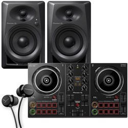 Pioneer DDJ200 2-Ch Rekordbox DJ Controller Pack w/ DM40 Monitors & In-Ear Headphones