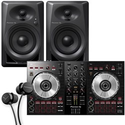 Pioneer DDJSB3 Two Channel Serato DJ Controller Pack w/ Pioneer DM40 Studio Monitors