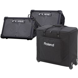 Roland Cube Street EX PA Powered Stereo Amp Pack Pair w/ Roller Bag (Black)