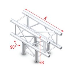 Showtec Pro-30 Box Truss 3-Way T Cross (Same as Global, Euro, TrussT Truss)
