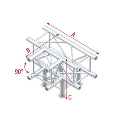 Showtec Pro-30 Box Truss 4-Way T Cross + Down (Same as Global, Euro, TrussT Truss)