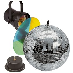 Showtec 30cm Mirrorball Set: Motor, Pinpost & Colourwheel Included
