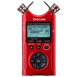 Tascam DR40X Four Track Digital Audio Recorder & USB Audio Interface (Ltd Red)