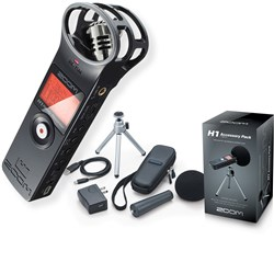 Zoom H1 Handy Recorder Bundle with FREE Accessory Pack (Black)