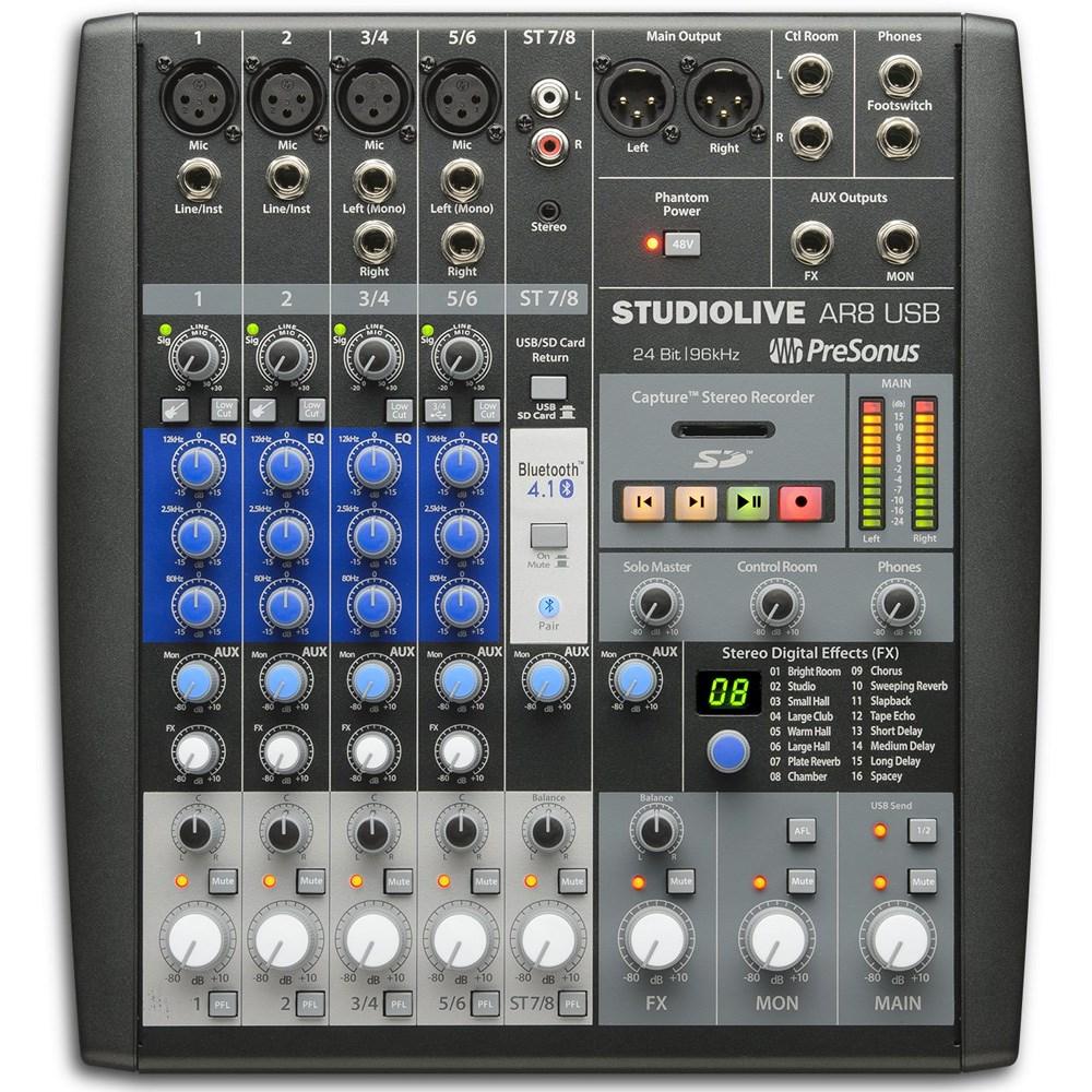Presonus StudioLive AR8 USB 8-channel Hybrid, Multi-track Recording on