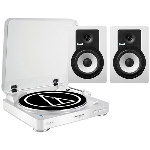 Audio Technica LP60BT & Fluid C5BT Bluetooth Turntable & Speaker Package (White)