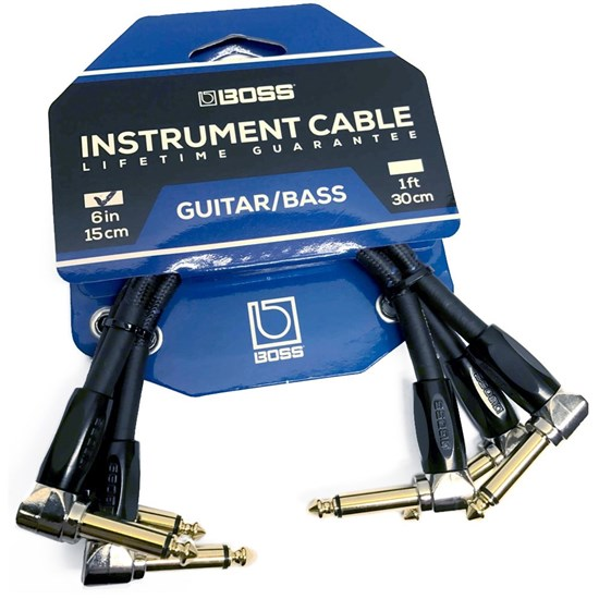 "6/"" Right Angle Guitar Pedal Audio Patch Cables 1//4/"" to 1//4/""  6-Pack NEW"