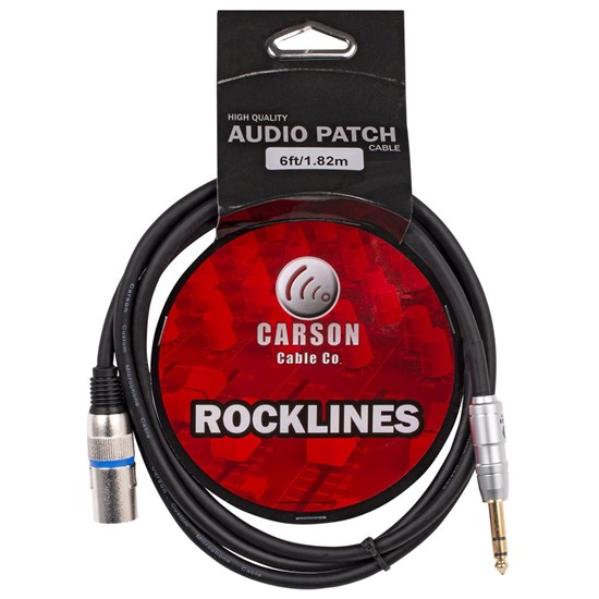 Carson Rockline 6.3mm TRS to XLR(M) Balanced Audio Cable (6ft)