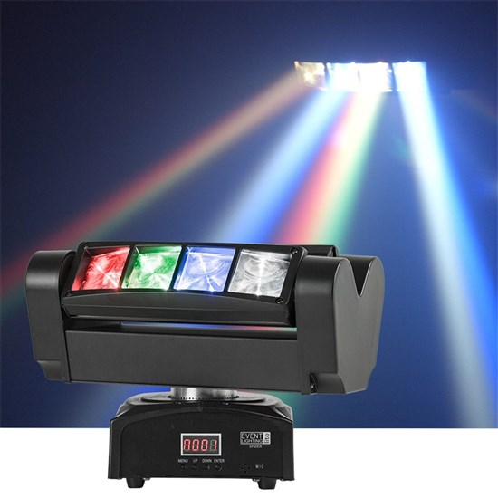 Event Lighting Spider Twin 4 Beam Moving Head Effect Light (8 x 10W RGBW)