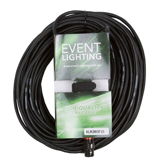 Event Lighting XLR3M3F20 3-Pin DMX Lead - Red Indicator Ring (20m)