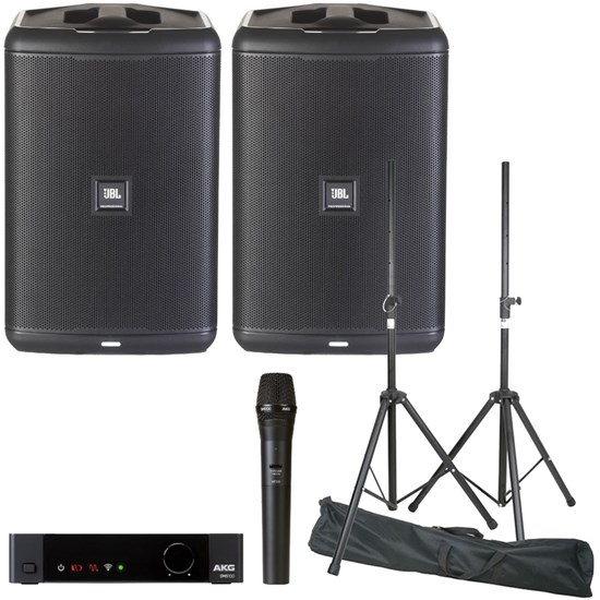JBL EON ONE COMPACT Stereo PA Pack w/ AKG DMS100 Vocal Wireless Kit & Speaker Stands