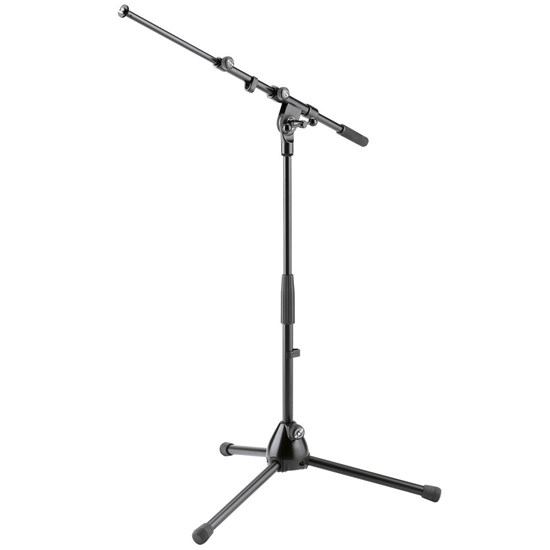 K&M Low-level telescopic Stand w/ foldable legs. Comes w/ 2-piece boom arm.