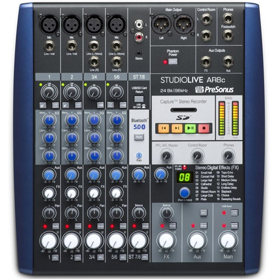 Presonus StudioLive AR8c 8-Ch Mixer w/ Bluetooth & USB Multitrack Recording