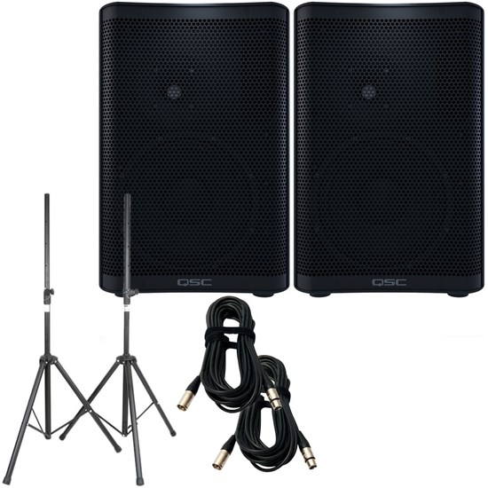 QSC CP8 PA Speaker Pack w/ Stands & 10m XLR Cables (Pair)