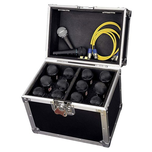 Road Ready Mic Case for 12 Mics w/ Storage Compartment
