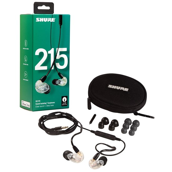 Shure SE215 Sound Isolating Earphones w/ Universal Cable (Clear)