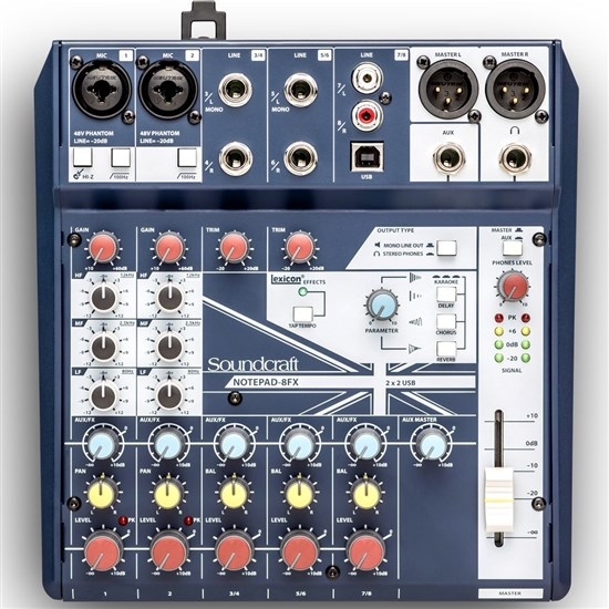 Soundcraft Notepad 8FX Small Format Analog Mixing Console w/ USB I/O & Lexicon Effects