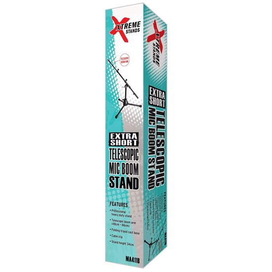 Xtreme Microphone Extra Short Boom Stand - Heavy Duty w/ Fold-Away Tripod Legs (Black)