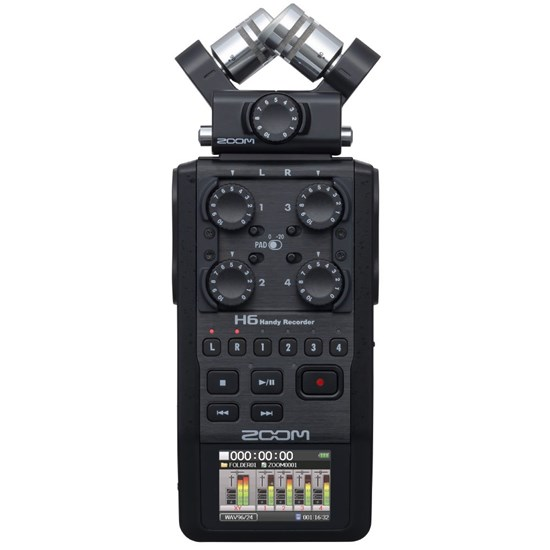 Zoom H6 Black Handy Recorder For Live, Podcast, Studio & More