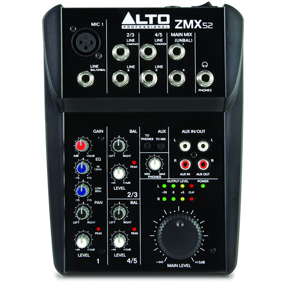Alto Professional Zmx52 5 Channel Compact Mixer Analogue Studio Portable Audio Zoom