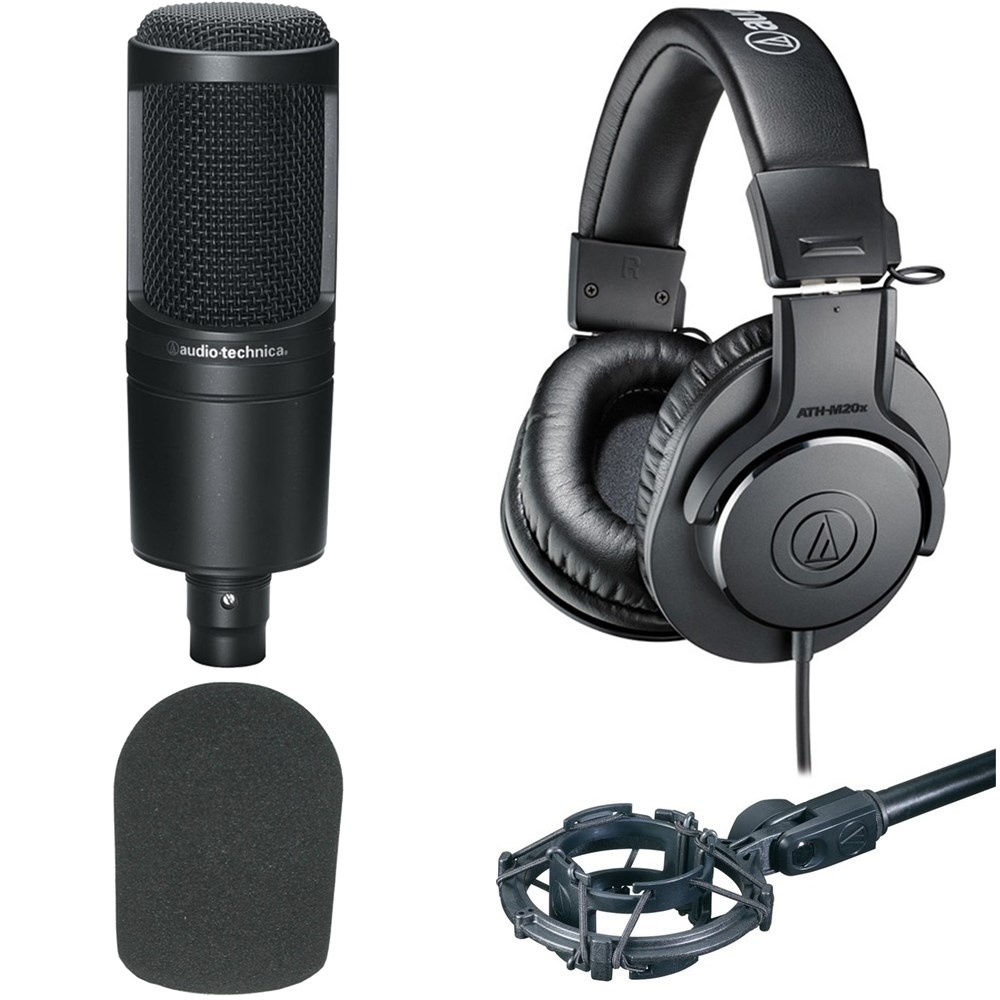 Audio Technica At2020 Ath M20x Combo Pack Plus W Shock Mount Black