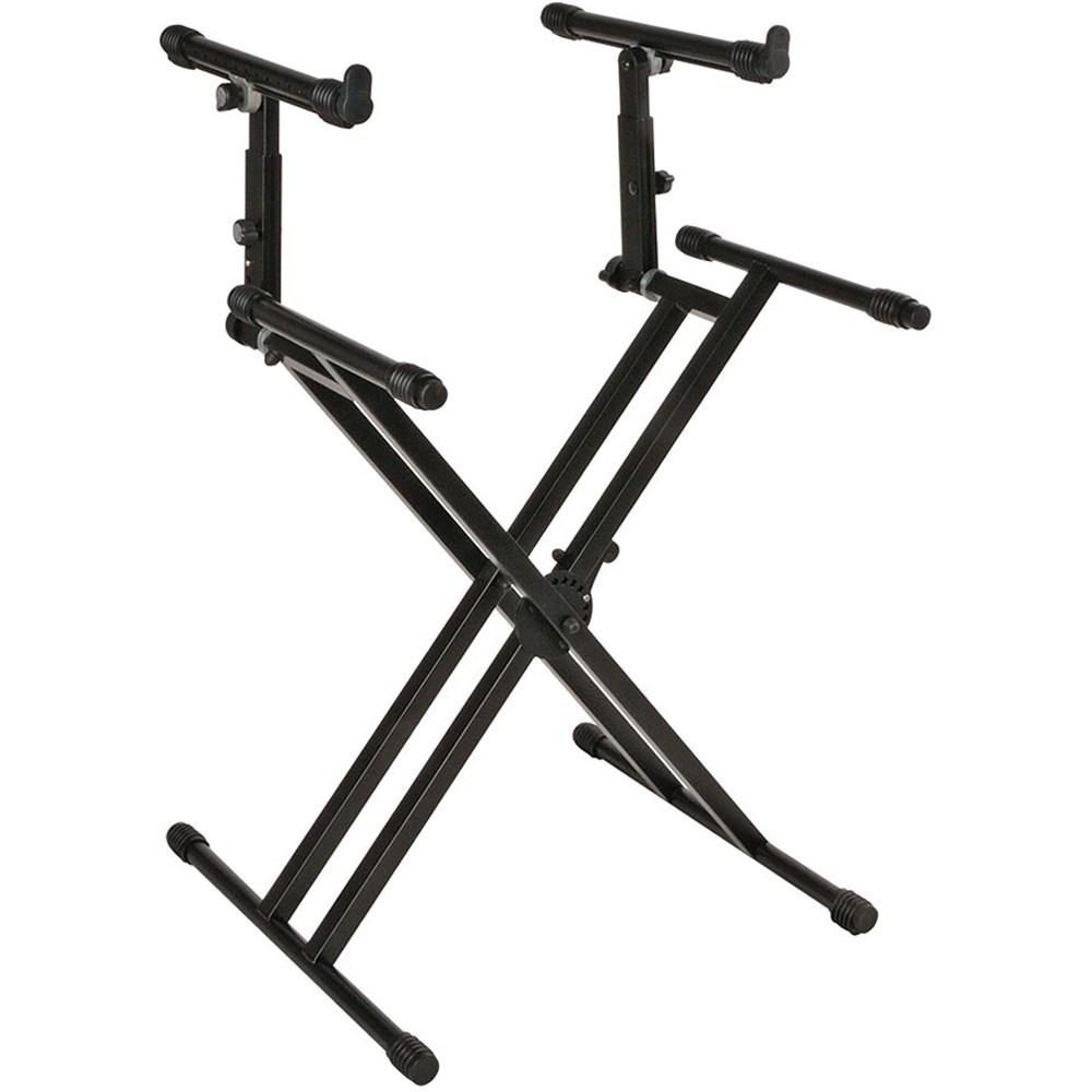 quik lok ql742 pro heavy duty double brace double tier x style keyboard stand keyboard stands. Black Bedroom Furniture Sets. Home Design Ideas