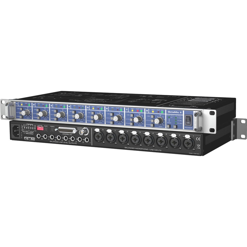 Rme Octamic Ii 8 Channel Pro Micpreamp Ad Converter Preamps Cable Neutrik Xlr 1 4quot Combo Jacks And Phantom Power Sound Design